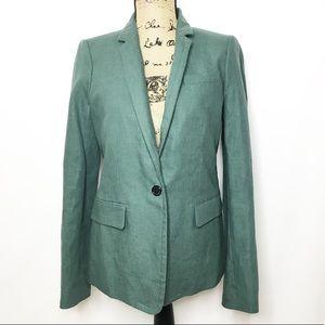 J. Crew Teal Green Blue Linen Blazer Jacket